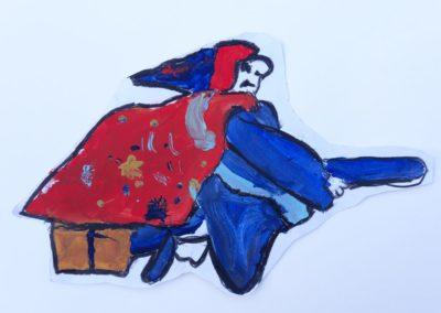 Das ist unsere Wetterhexe. Lilli hat sie mit Acrylfarben gemalt.