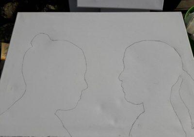 Auf dieser Leinwand sieht man Lenis und Leas Köpfe.