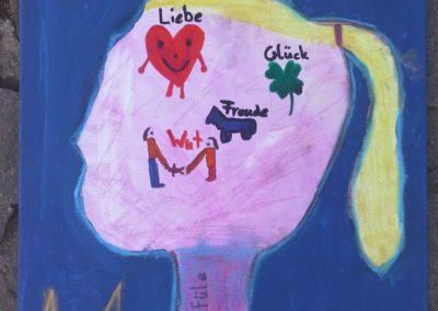 """106 Mia sagt: """"Mein Kunstwerk heißt so, weil mein Kopf mit den Gefühlen auf einem blauen Hintergrund zu sehen ist."""""""