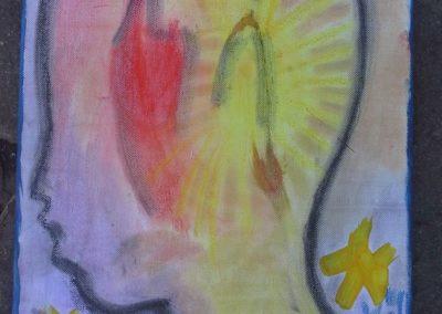 """122 Luka sagt: """"Für meine Gefühle habe ich die Farben einer Flamme benutzt, das sind Rot und Gelb."""""""