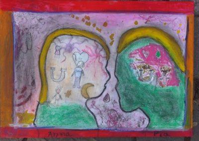 """Das sind Anna und Pia sagen: """"Gefühle können sich anfühlen wie ein Feuerwerk.""""und Pia mit ihrem Kunstwerk """"Feuerwerksliebe""""."""